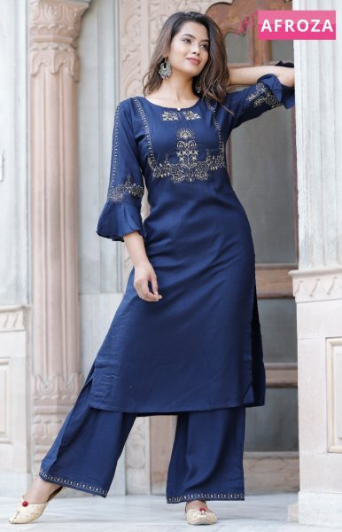 Rayon Slub Kurti Palazzo Set with Zari Embroidery