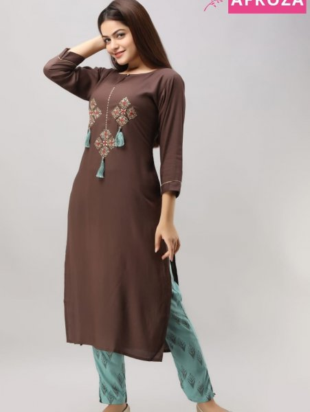 Rayon-kurta-with-embroidery-and-tassels
