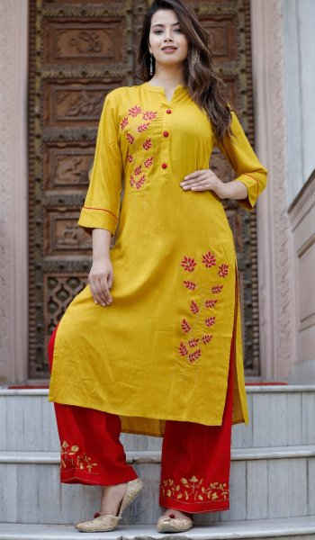 Rayon Slub Kurta Palazzo Set with Embroidery