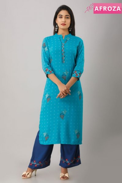 Rayon Kurti Palazzo Set with Aari Embroidery