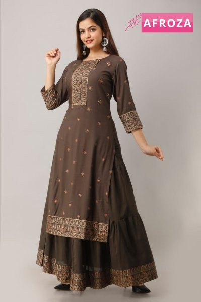 Rayon Kurti with Malmal Skirt (with lining)