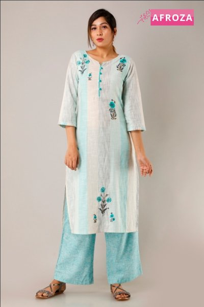 Yarn Dyed Cotton Kurti Palazzo Set with Embroidery