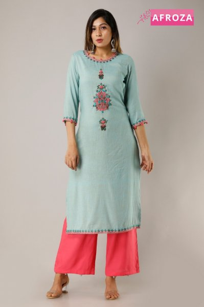 Two Tone Rayon Kurti Palazzo Set with handwork